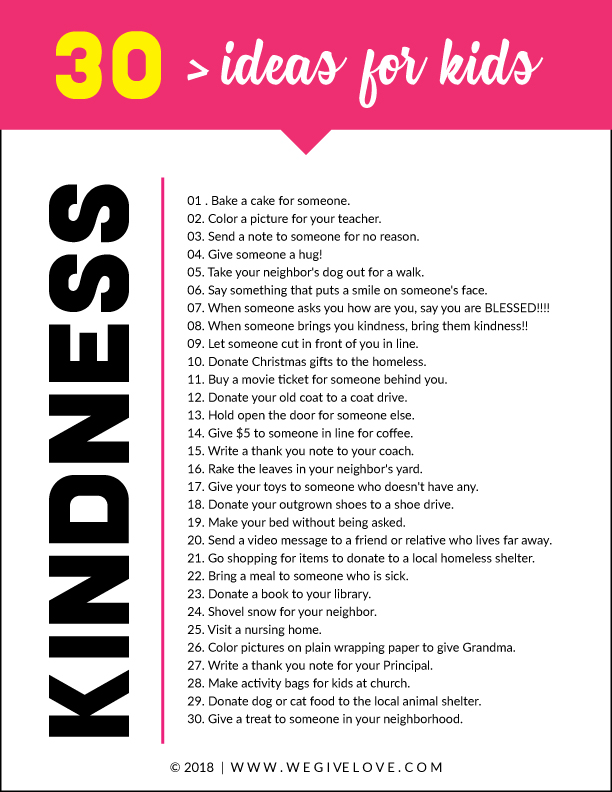 simple acts of kindness ideas for kids free printable list | wegivelove.com